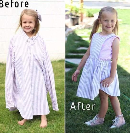 كيف حولت أم عبقرية قمصان زوجها لفساتين رائعة لابنتها؟ 1