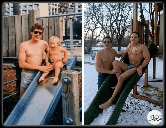 آثار الزمن وفوارق العمر في صور طريفة ومضحكة