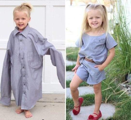 كيف حولت أم عبقرية قمصان زوجها لفساتين رائعة لابنتها؟