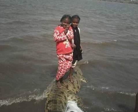 طفلتين نوبيتين على ظهر تمساح