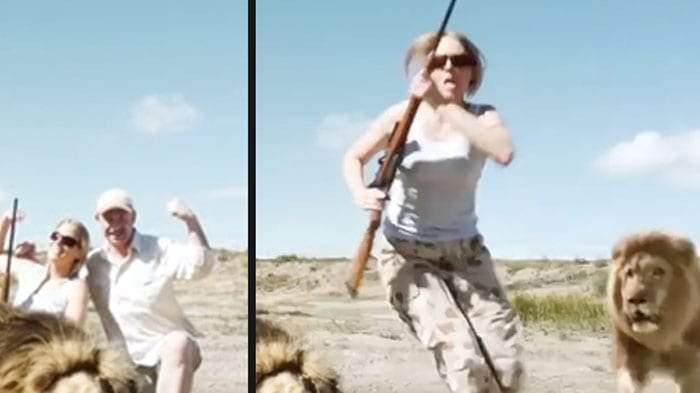 انتقام أسد.. حقيقة مقطع مرعب لافتراس رجل وفتاة بسبب الصيد