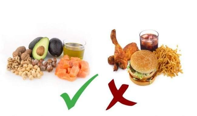 طعام صحي وطعام يحتوي على دهون غير مشبعة